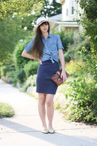 sky blue Urban Outfitters shirt - beige Forever21 hat - brown coach bag