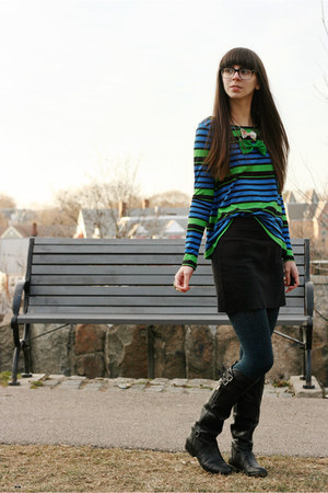 blue StyleMint t-shirt - black Dolce Vita boots - navy tights