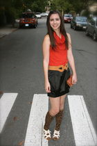 red American Apparel dress - black Urban Outfitters skirt - brown Urban Outfitte