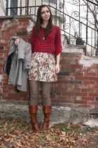 ruby red Splendid t-shirt - ivory Forever 21 skirt - light brown Anthropologie t