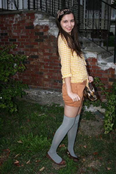 yellow Jcrew shirt - orange Jcrew shorts - gray socks - brown Target shoes - bro