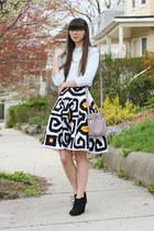 white Diane Von Furstenberg skirt - black Target boots