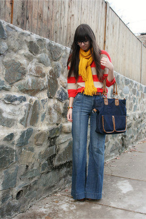 red Old Navy sweater - blue Gap jeans - mustard Target scarf - navy bag