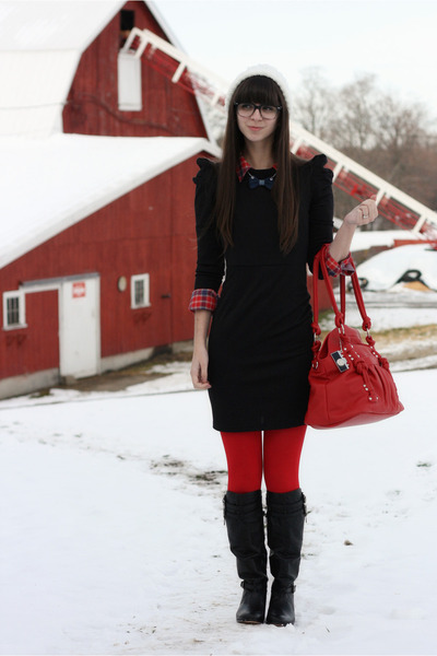 black BB Dakota dress - black Dolce Vita boots - ivory Urban Outfitters hat