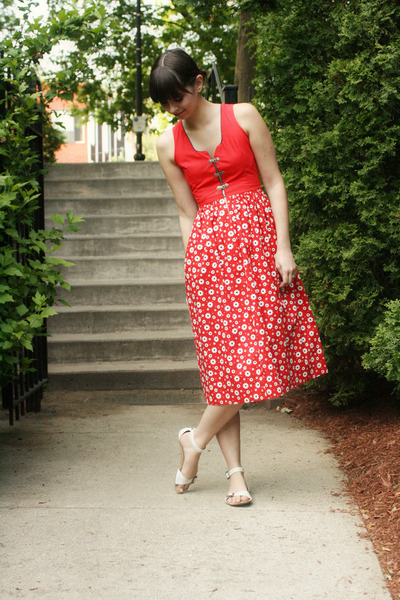 red vintage dress - white Urban Outfitters sandals