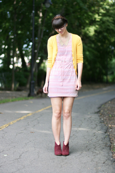 mustard H&M cardigan - maroon Steve Madden boots - light pink H&M dress