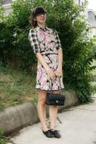 hot pink thrifted dress - black big buddha shoes - black Urban Outfitters shirt