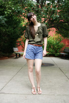 blue Anthropologie shorts - brown Express belt - army green Diane Von Furstenber