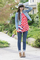 red Victorias Secret top - brown Boutique 9 boots - navy BCBGeneration jeans