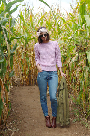 light purple thrifted sweater - brown DSW boots - sky blue Loft jeans
