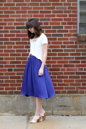 ivory seychelles shoes - violet H&amp;M skirt - beige shopHollyDolly necklace