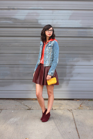maroon Steve Madden boots - sky blue H&M jacket