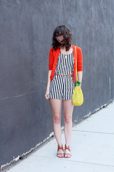 black Buffalo Exchange romper - yellow H&M purse - red Jcrew cardigan