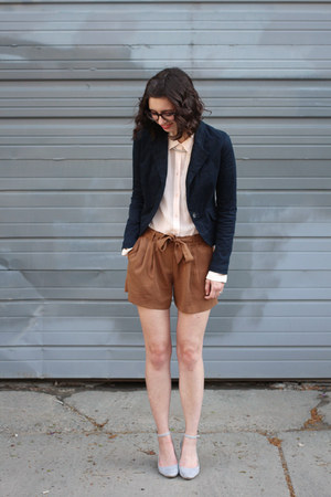 navy Target blazer - light pink Loft shirt - brown Loft shorts