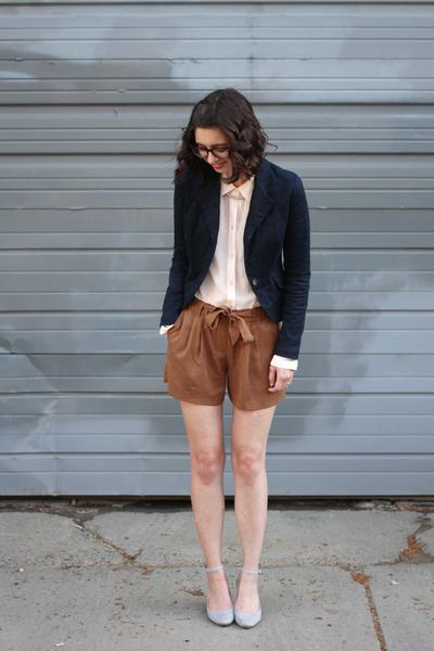 navy Target blazer - light pink Loft shirt - brown Loft shorts