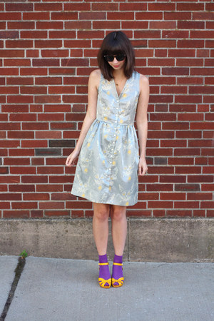 heather gray handmade dress - purple Urban Outfitters socks