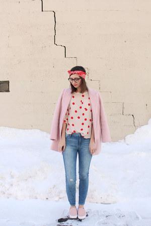 light pink Loft blouse - bubble gum Forever 21 coat - blue Loft jeans