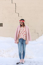 light pink Loft blouse - bubble gum Forever 21 coat - blue Loft jeans