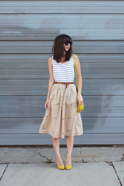 yellow H&M purse - tan thrifted skirt - white H&M t-shirt