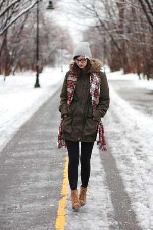 army green Max Studio coat - light brown Lulus boots - navy Old Navy jeans
