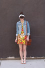 Red-vintage-dress-sky-blue-h-m-jacket-brown-h-m-bag