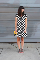 black handmade dress - mustard sarah oliver purse - black Blowfish sandals