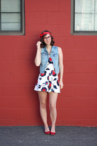 ivory Buffalo Exchange romper - red Old Navy flats - sky blue Old Navy vest