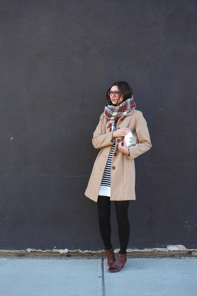 camel Target coat - brown DSW boots - navy Old Navy dress - red H&M scarf