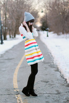 black Target boots - red modcloth dress - heather gray Urban Outfitters hat