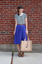 blue H&M skirt - brown Express boots - camel Apple & Bee bag