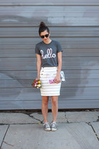 heather gray Loft skirt - white handmade bag