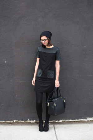 black Target boots - black Loft dress - black Urban Outfitters hat