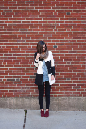 white Sheinside coat - maroon Steve Madden boots - black Urban Outfitters jeans