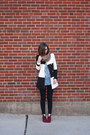Maroon-steve-madden-boots-white-sheinside-coat-black-urban-outfitters-jeans