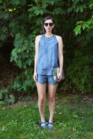 sky blue handmade shirt - silver Boden purse - sky blue handmade shorts