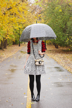 black Jcrew boots - white modcloth dress - red Forever21 shirt
