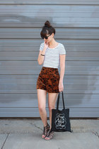 brown Minx shorts - white H&M t-shirt - black Blowfish sandals