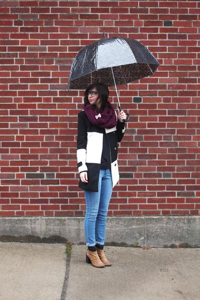 black Sheinside coat - camel Boutique 9 boots - sky blue Old Navy jeans