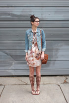 brown H&M purse - pink  dress - sky blue H&M jacket - brown Wanted sandals