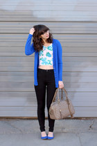 blue Forever21 cardigan - black Urban Outfitters jeans - tan theIT bag
