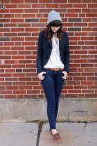 brown big buddha shoes - heather gray Urban Outfitters hat - navy Target blazer