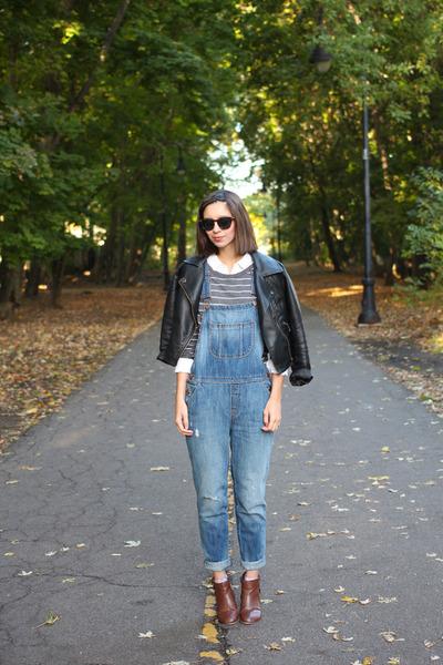 blue Loft jeans - brown DSW boots - black Sheinside jacket