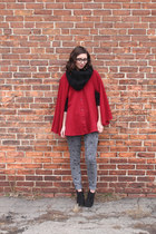 red American Apparel cape - black Target boots - heather gray H&M jeans