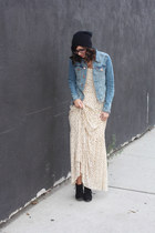black Target boots - eggshell Anthropologie dress - black Urban Outfitters hat