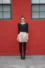 Black-bb-dakota-dress-ruby-red-warby-parker-glasses-gold-jcrew-skirt