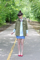 bubble gum Loft necklace - olive green Forever21 jacket