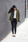Army-green-old-navy-coat-black-urban-outfitters-jeans-black-h-m-hat