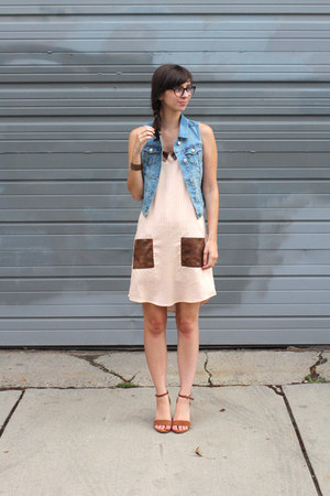 handmade dress - Old Navy vest - Seychelles wedges