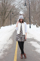 brown DSW boots - black asos dress - heather gray Urban Outfitters hat