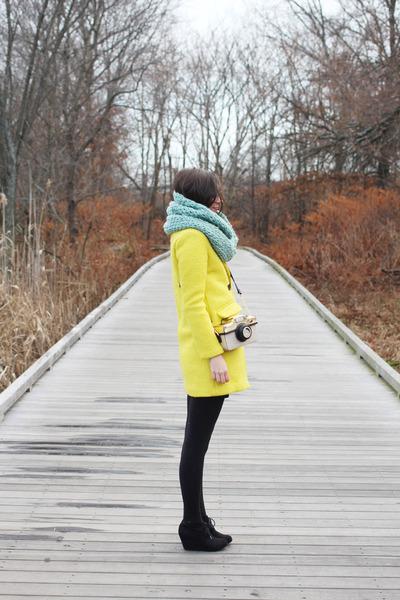 yellow Sheinside coat - black Target boots - light blue The Seam Designs scarf